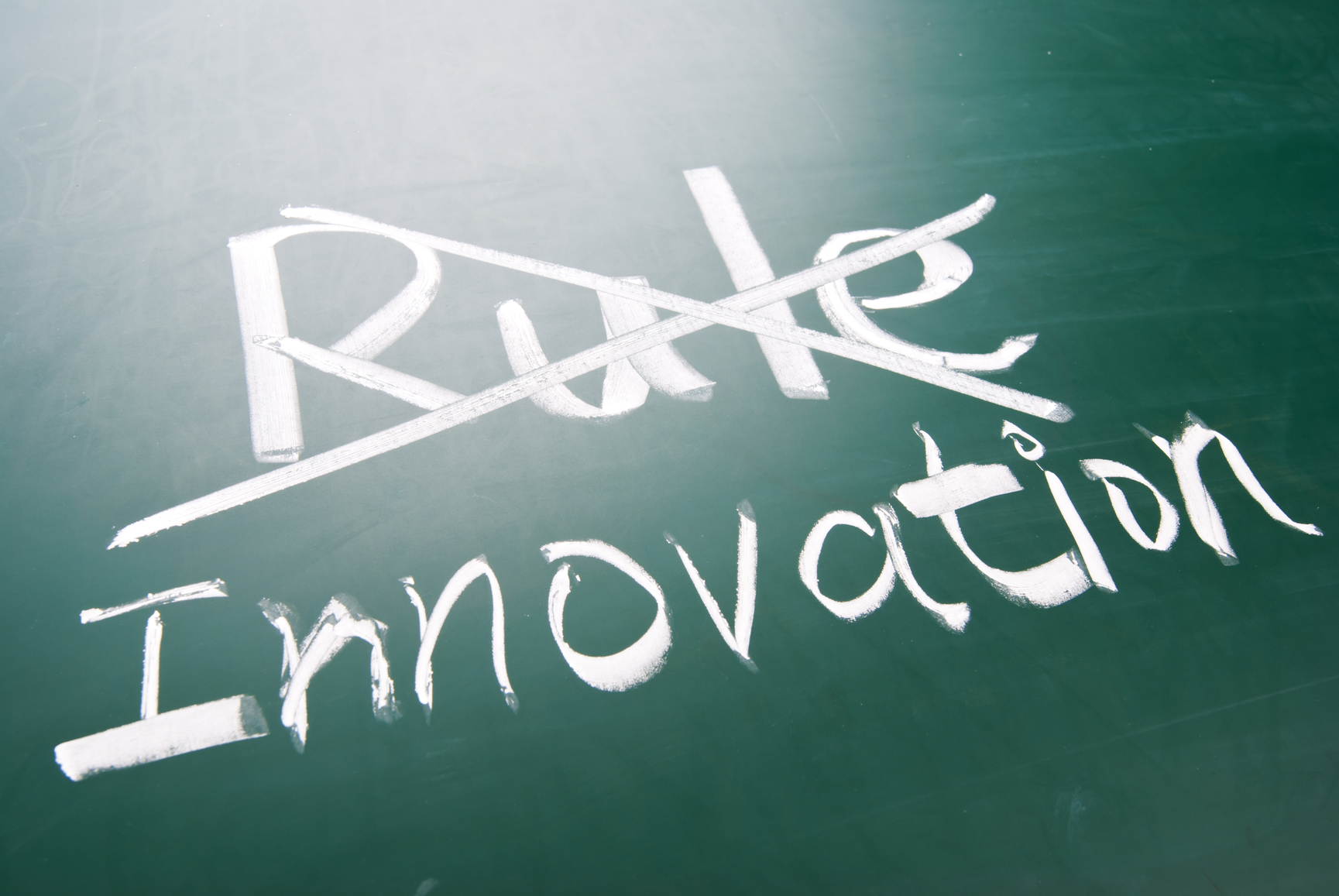 Break The Rule For Innovation, Conceptual Words On Blackboard